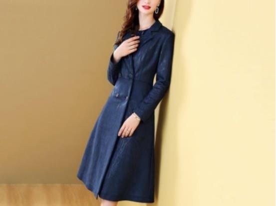 韩版修身收腰鹿皮绒西装领长袖中长款风衣外套