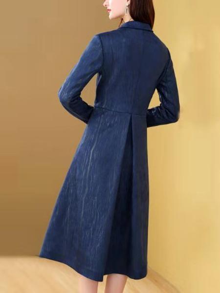 西装领中长款风衣外套