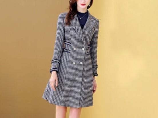 大衣女百搭双排扣袖口须边千鸟格风衣外套