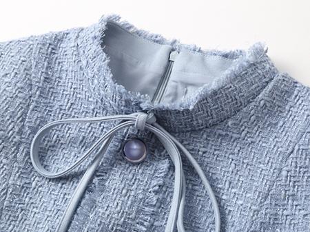 蓝色小香粗花呢连衣裙细节2