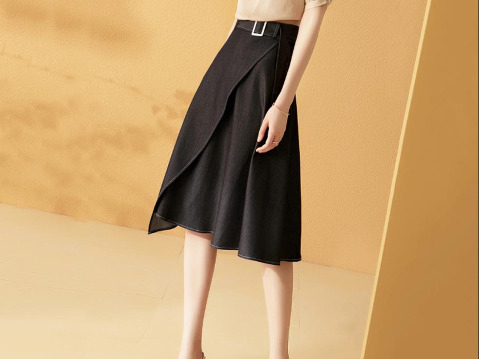 高腰显瘦半身裙中长款裙