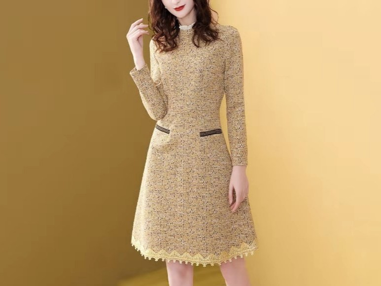 针织时尚小香风气质洋气粗花呢子连衣裙