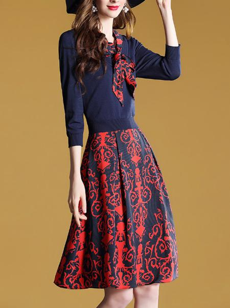 法式复古蝴蝶结梭织衫拼接流行裙子