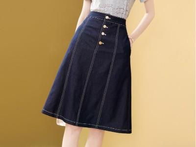 牛仔半身裙秋季新款高腰显瘦a字裙