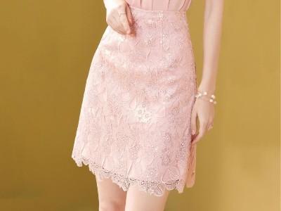亮片蕾丝短裙女半身裙高腰a字裙