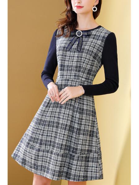 粗花格子拼接连衣裙
