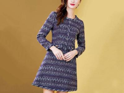 撞色修身小香风编织纹理粗花呢中长连衣裙