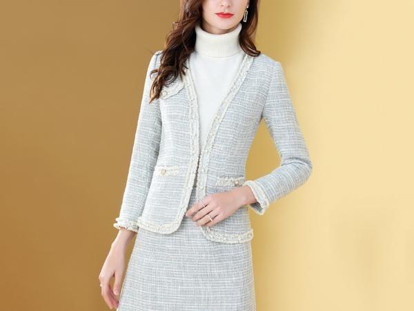 粗花呢织带珍珠毛边名媛两件套装裙