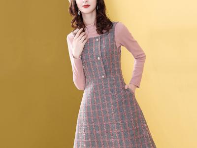 洋气格子背心裙套装时尚打底针织衫两件套