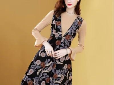 风连衣裙显瘦法式款两件套气质收腰