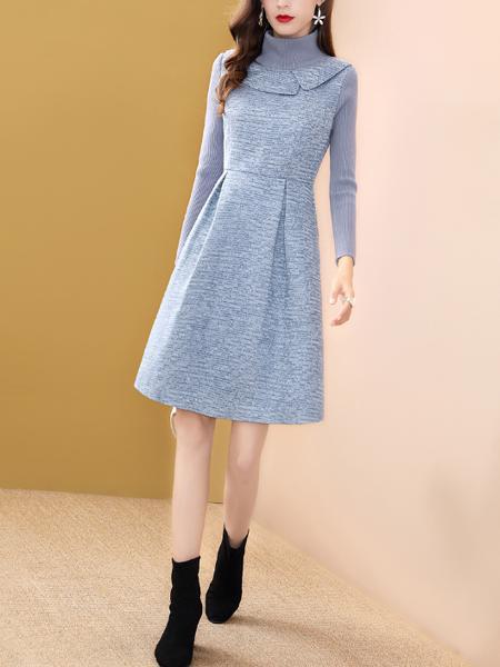 蓝色假两件连衣裙女冬季中长款