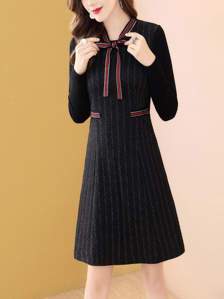条纹黑色小香风连衣裙女冬季中长款显瘦a字裙