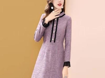 小香风连衣裙女冬季中长款长袖显瘦a字裙子