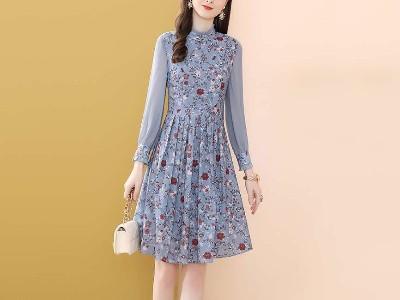 麻纱料蓝色通勤法式连衣裙