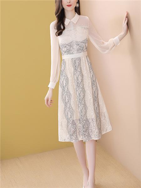 杏色网纱刺绣娃娃领蕾丝连衣裙