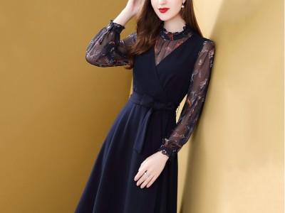 针织面料拼接碎花收腰显瘦气质复古裙子