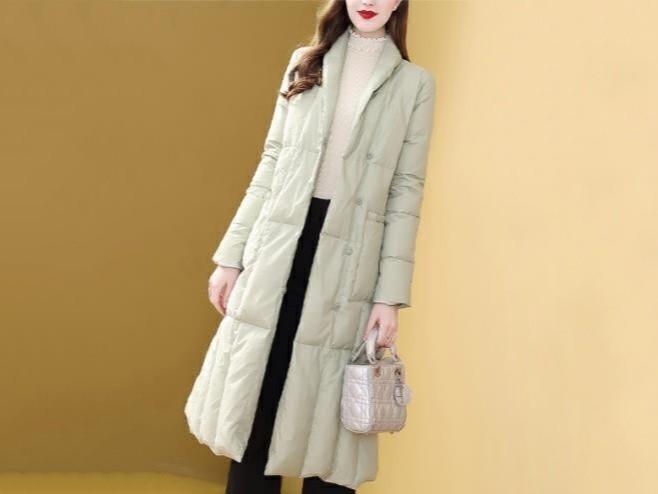 女中长款冬装时尚收腰过膝保暖外套