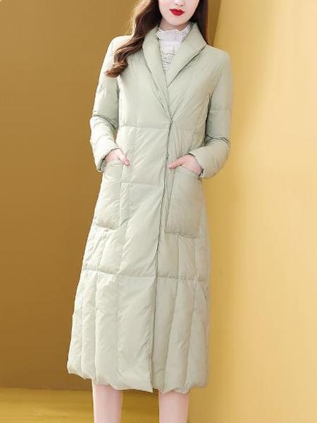 羽绒服女中长款收腰过膝保暖外套