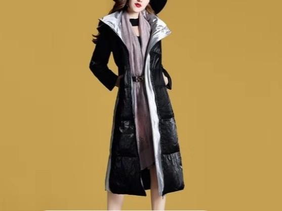 羽绒服收腰长款女装修身显瘦外套