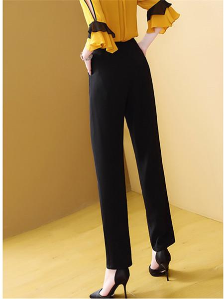 套装长裤高腰两件套上衣裤子