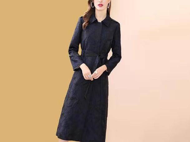 风衣刺绣女中长款收腰显瘦外套
