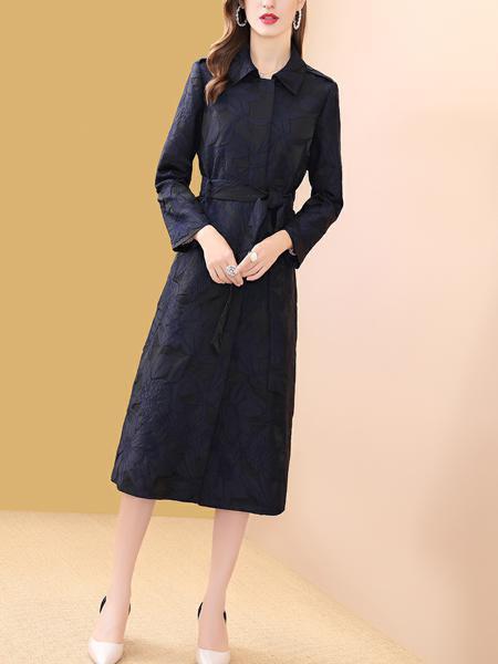 风衣刺绣女中长款收腰外套