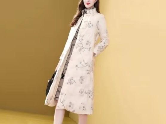 羽绒服中国风印花女中长款收腰刺绣外套过膝