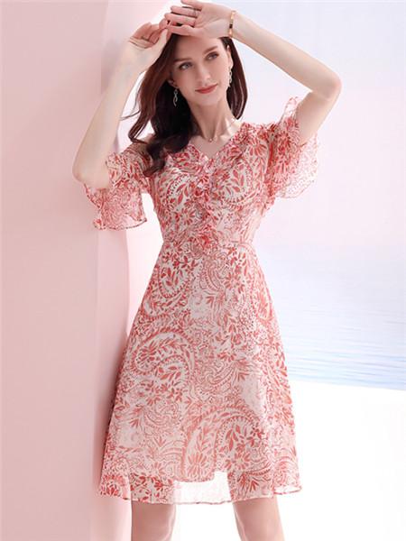 真丝连衣裙印花时尚优雅修身