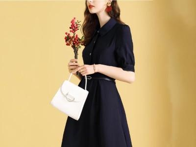 时尚通勤衬衫领连衣裙分袖职业ol气质裙子