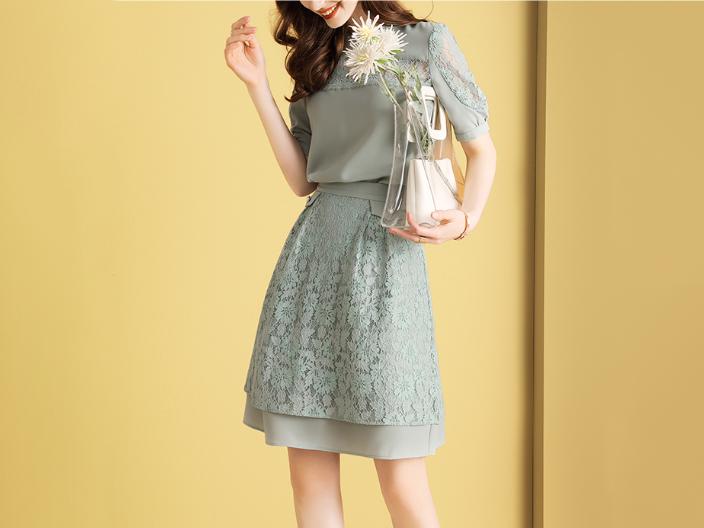 两件套裙名媛风拼接蕾丝套装裙
