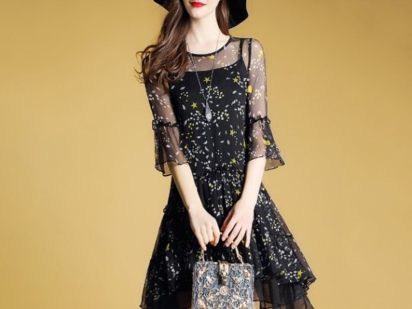 碎花真丝连衣裙女桑蚕丝气质吊带裙子两件套