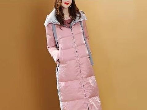 羽绒服收腰长款女装修身显瘦外套粉色