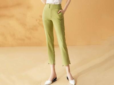 高腰微喇修身显瘦设计感休闲裤