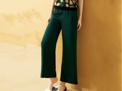 女装绿色阔腿裤高腰垂宽松显瘦休闲裤
