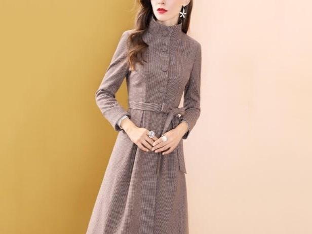 咖色收腰风衣女中长款长袖显瘦百搭外套