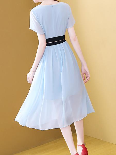 显瘦雪纺连衣裙展示图