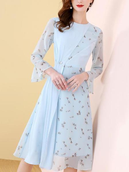 天蓝色压褶拼接雪纺连衣裙