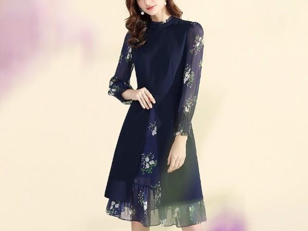 藏青色复古印花雪纺收腰气质假两件打底连衣裙