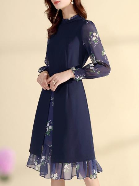 藏青色复古印花雪纺连衣裙