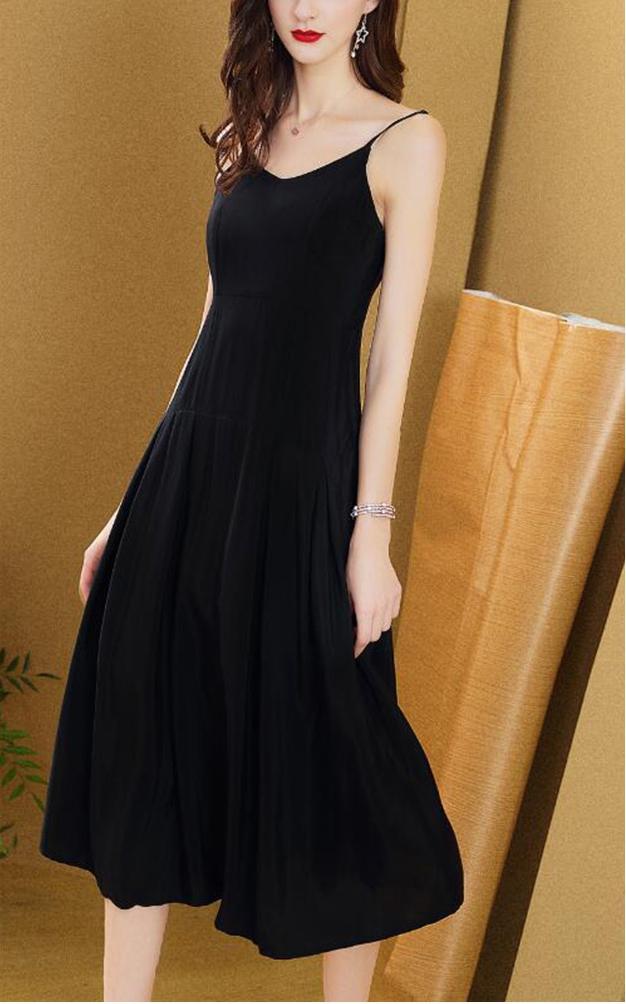 连衣裙黑色吊带裙女士内搭打底裙子