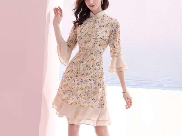 复古旗袍领绣花雪纺连衣裙子