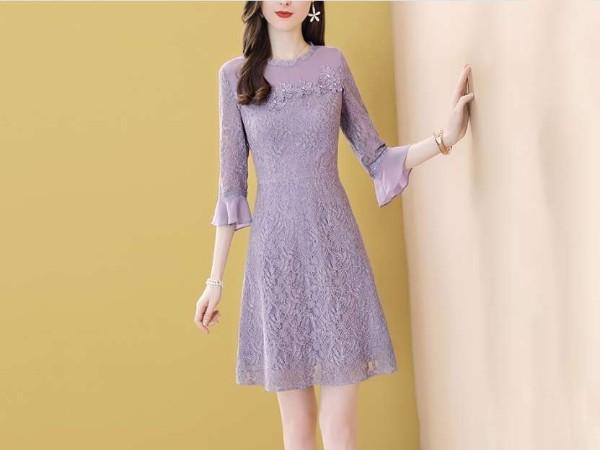 紫色蕾丝连衣裙女温柔风淑女显瘦