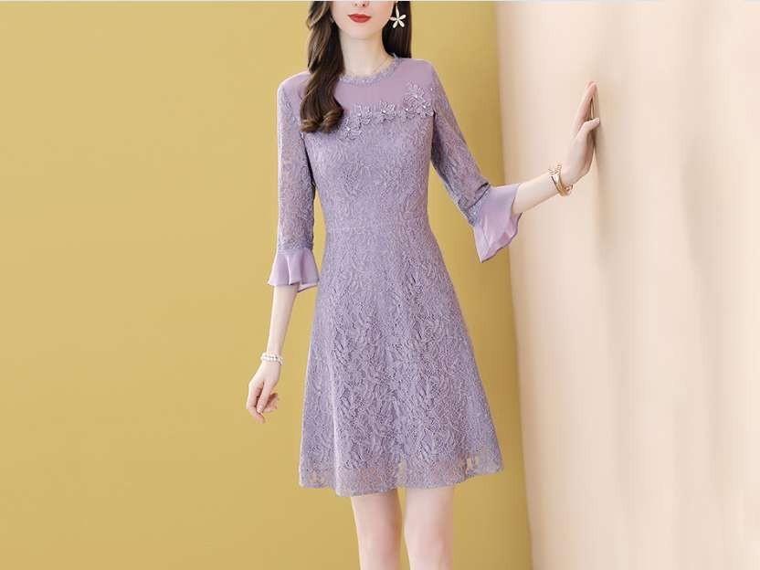 紫色蕾丝连衣裙女A字短裙