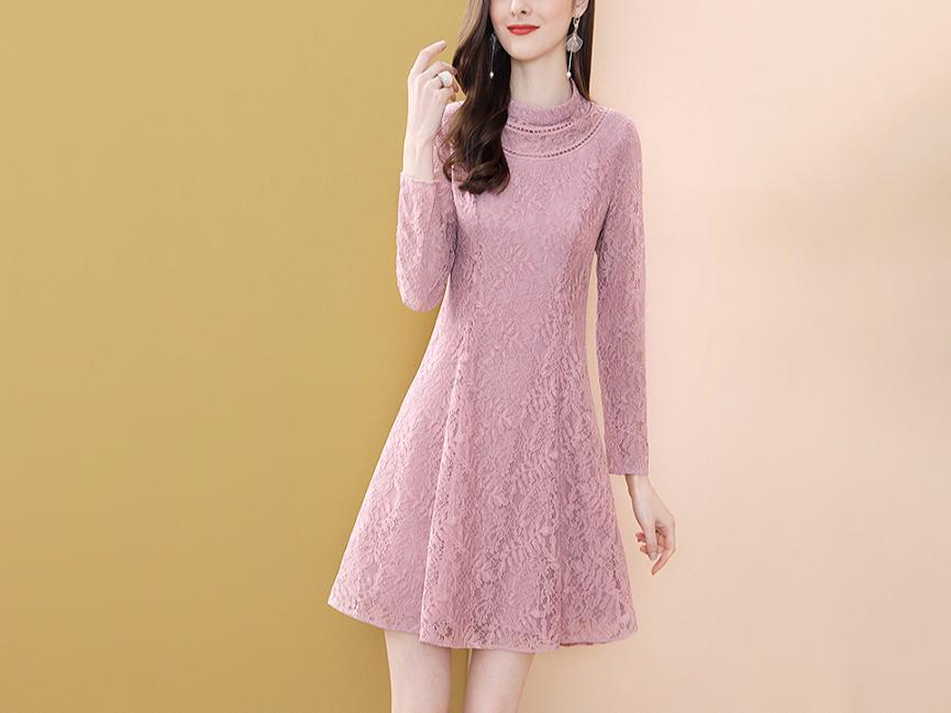 粉色蕾丝连衣裙中长款气质拼接A字裙子