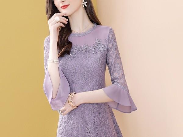 紫色蕾丝连衣裙女温柔风淑女显瘦A字短裙