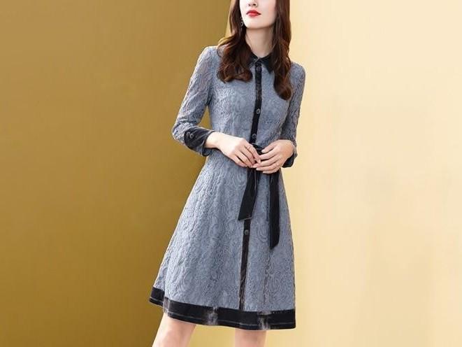 蕾丝连衣裙女新品丝绒拼接气质典雅显瘦中长裙