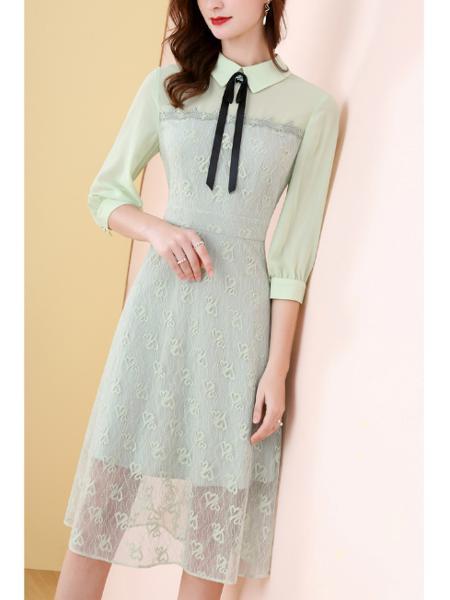蕾丝女系带圆领钉珠提花拼接长袖连衣裙