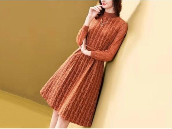 复合金丝绒连衣裙新款冬长袖加绒加厚半高领裙子