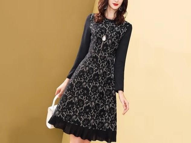 黑色蕾丝连衣裙修身显瘦春复古气质裙子