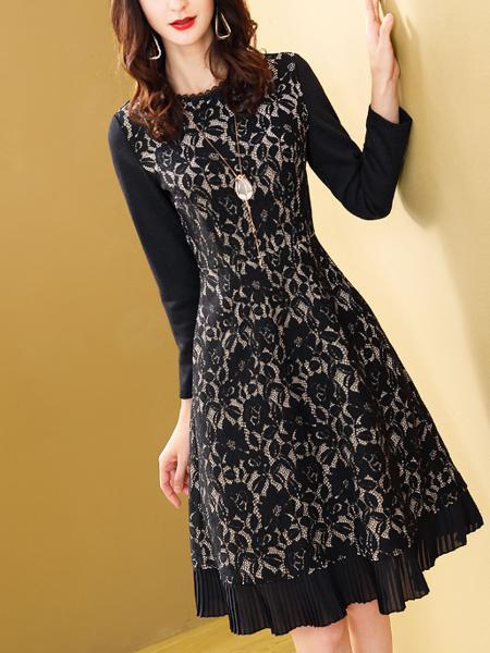 黑色蕾丝连衣裙定制